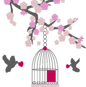 Cerisier japonais et cage à oiseaux